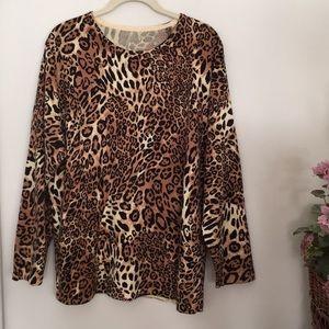 Animal print cashmere sweater